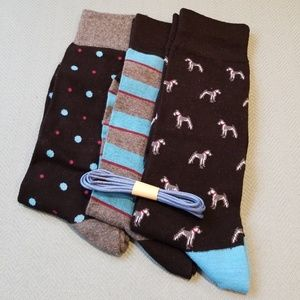Other - 3 Pair Men's Gift Socks with colored Shoelace